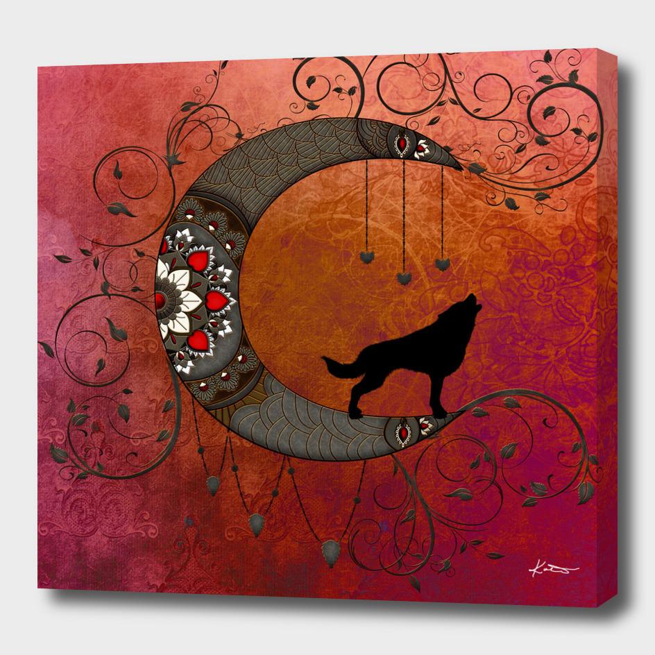 Black wolf on decorative steampunk moon