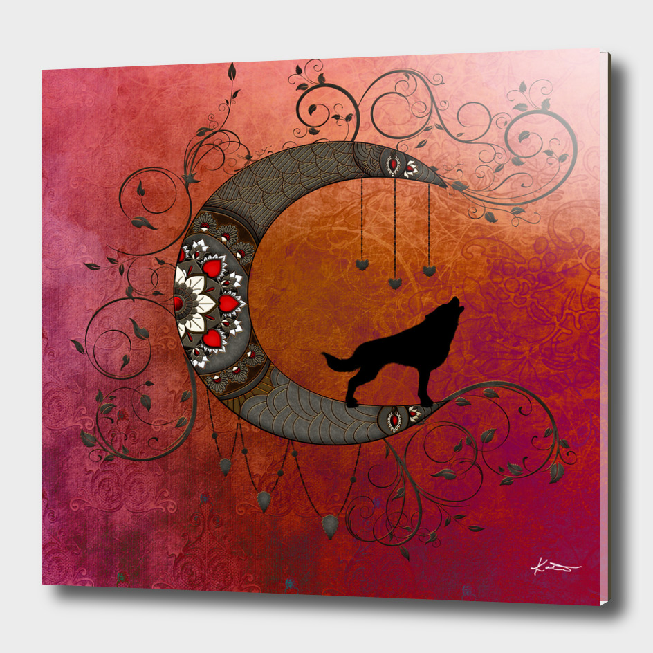 Black wolf on decorative steampunk moon