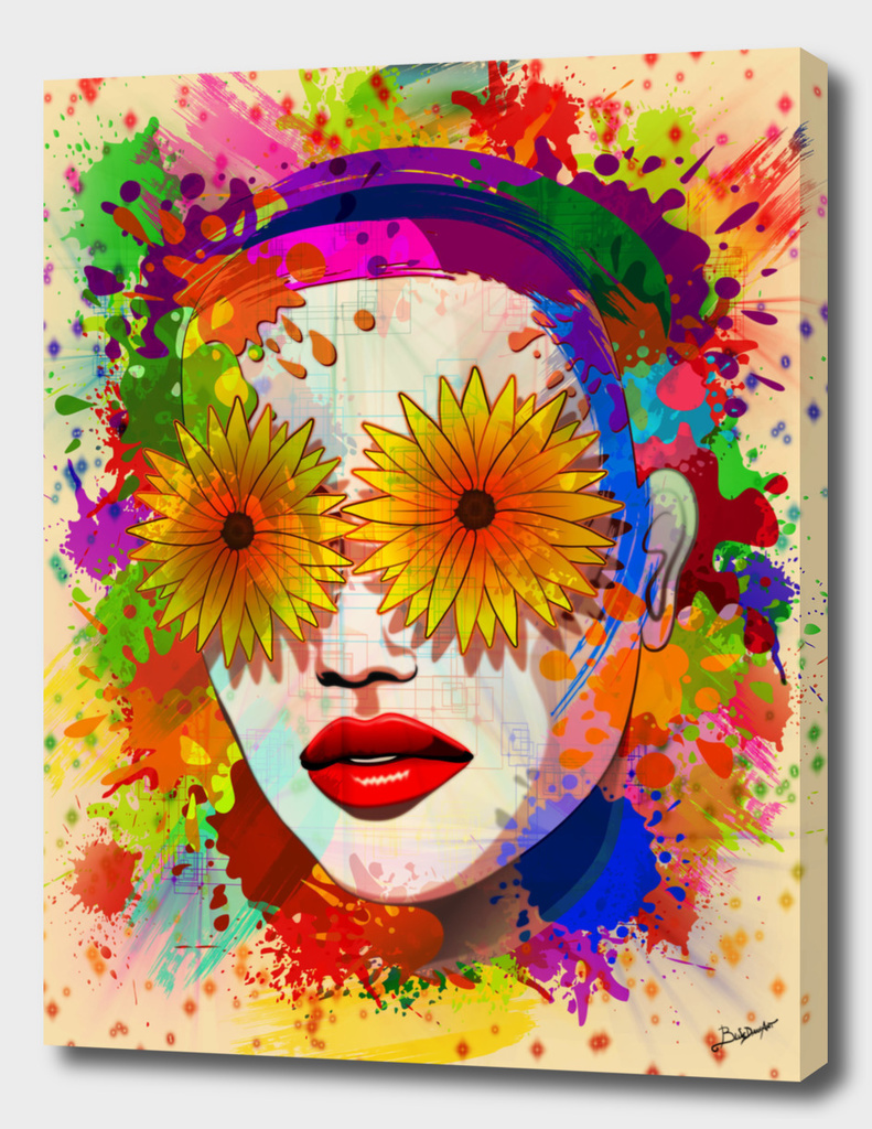 Girl Portrait Summer Flowers Eyes