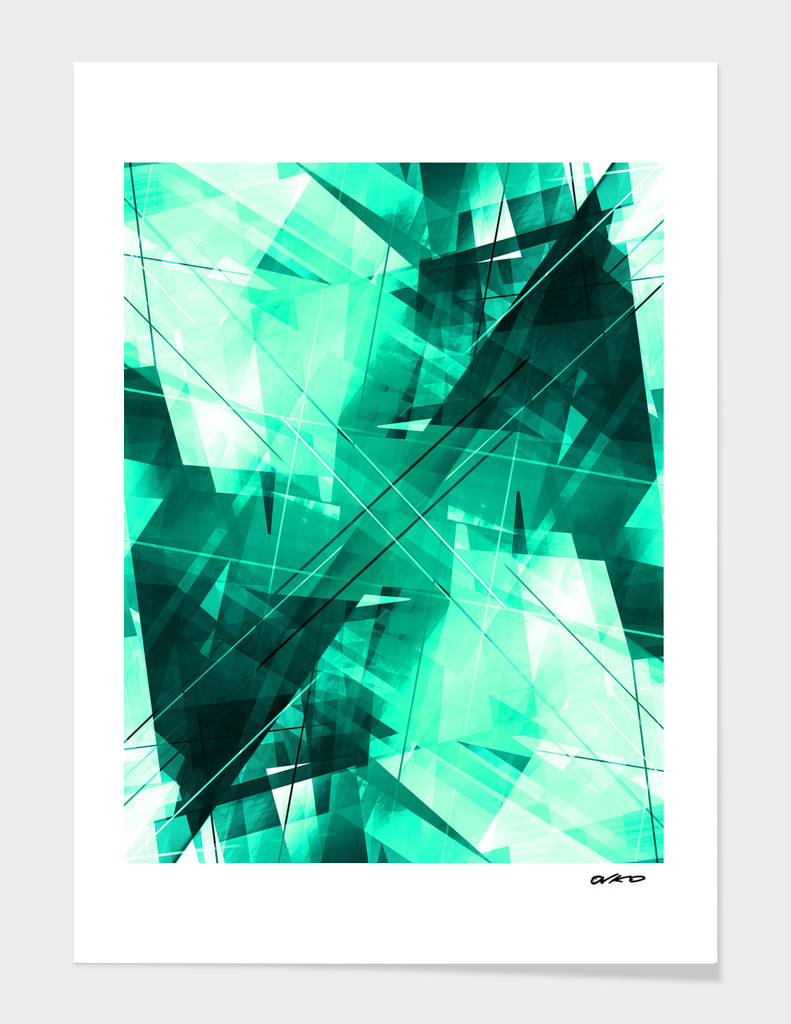 Mint Maze - Geometric Abstract Art