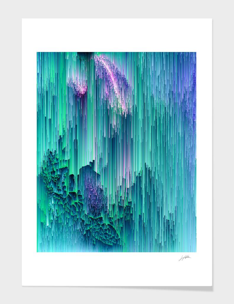 Emerald City - Glitch Abstract Pixel Art