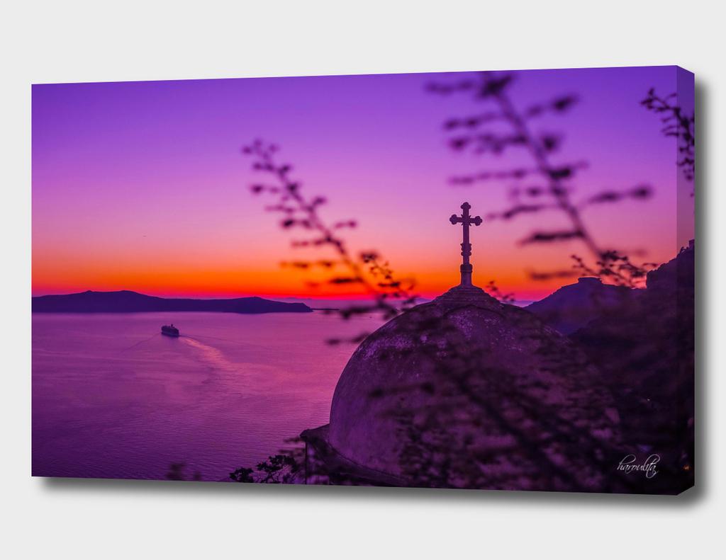 Lavender sunset in Santorini