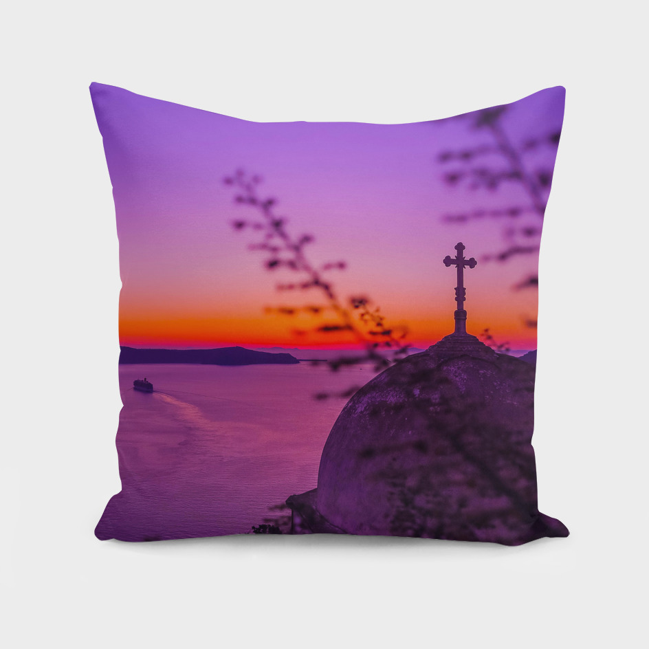 Lavender sunset in Santorini