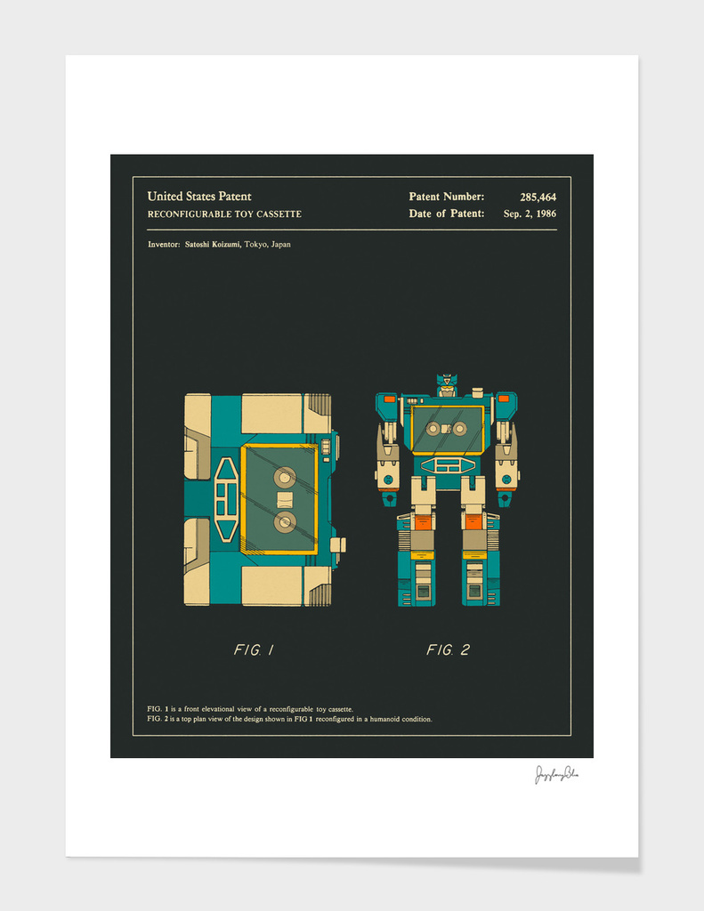 Reconfigurable Toy Cassette Patent (1986) (Black)