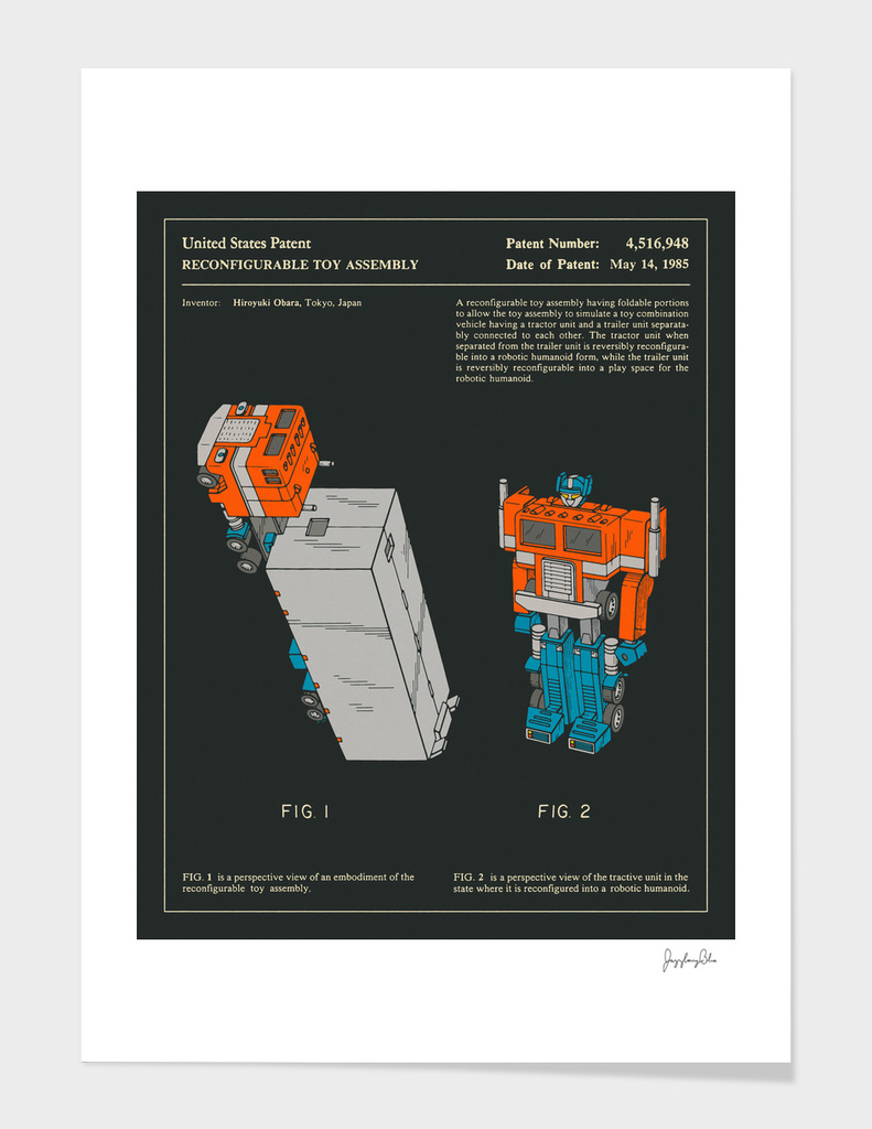Reconfigurable Toy Patent (1985) (Black)