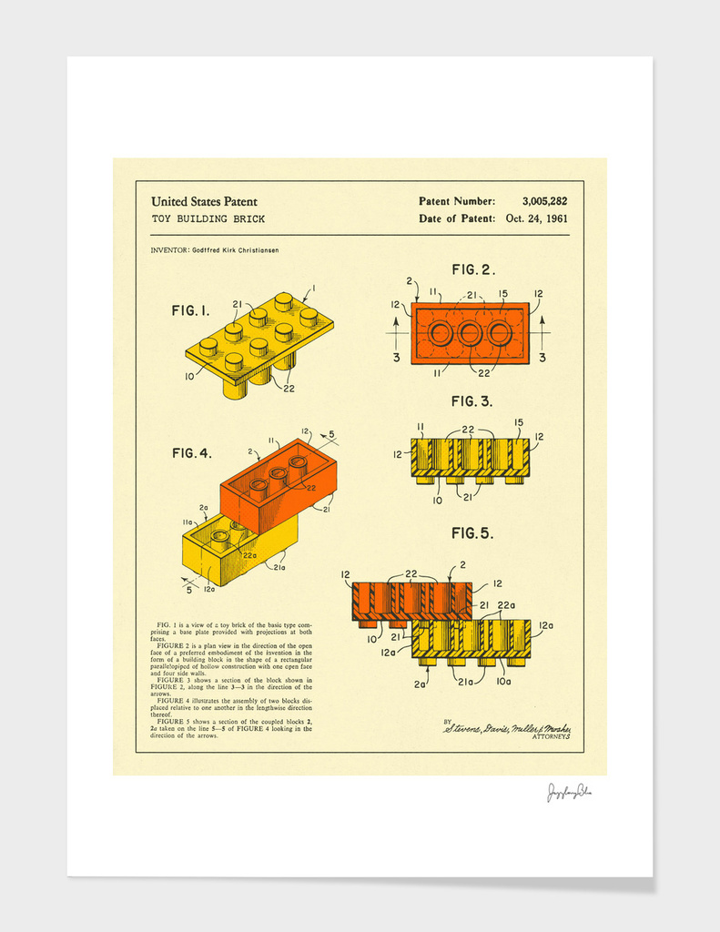 Building Bricks Patent - 1961