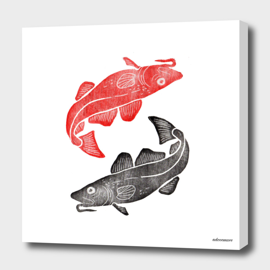 Linocut Fishes