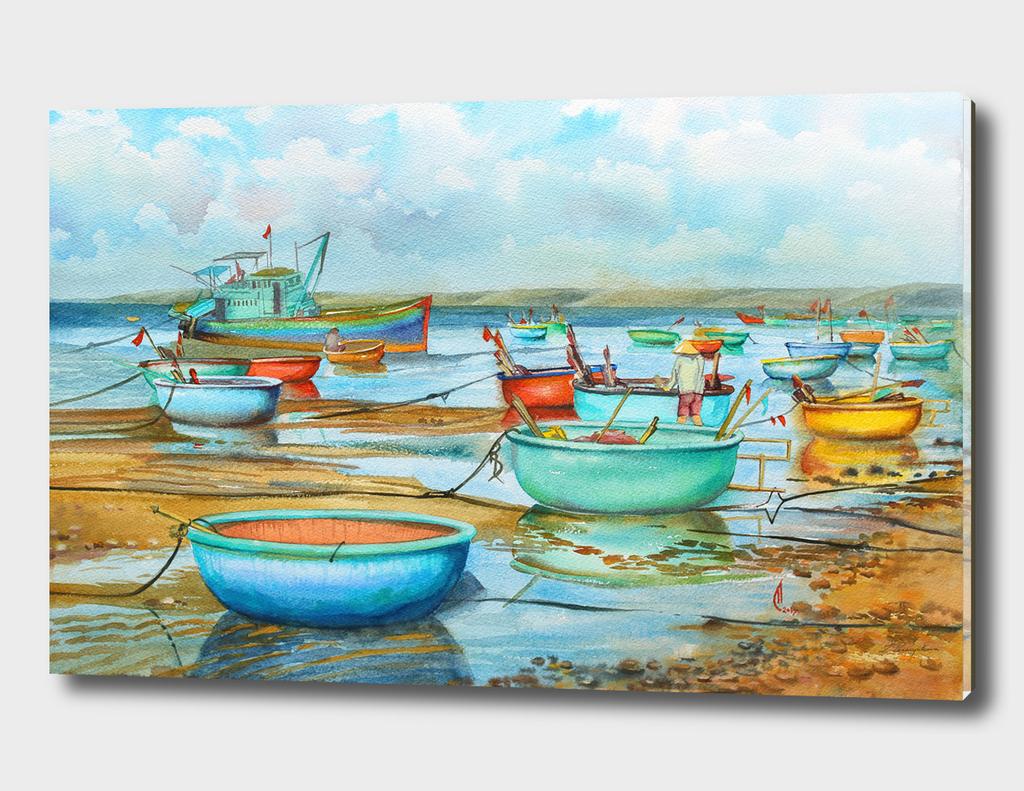 Vietnamese basket-boats