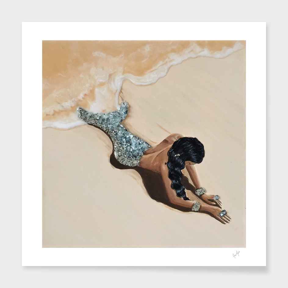 Mermaid Washed Up Painting
