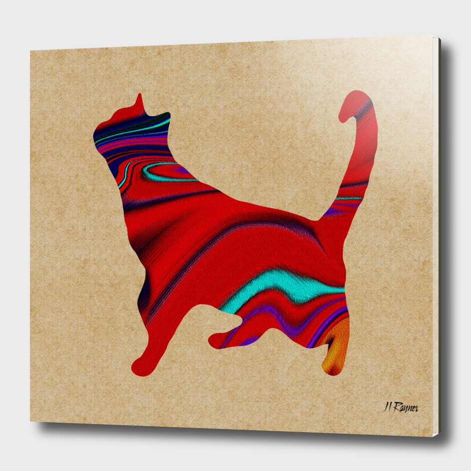 Abstract Standing Red Textured Cat