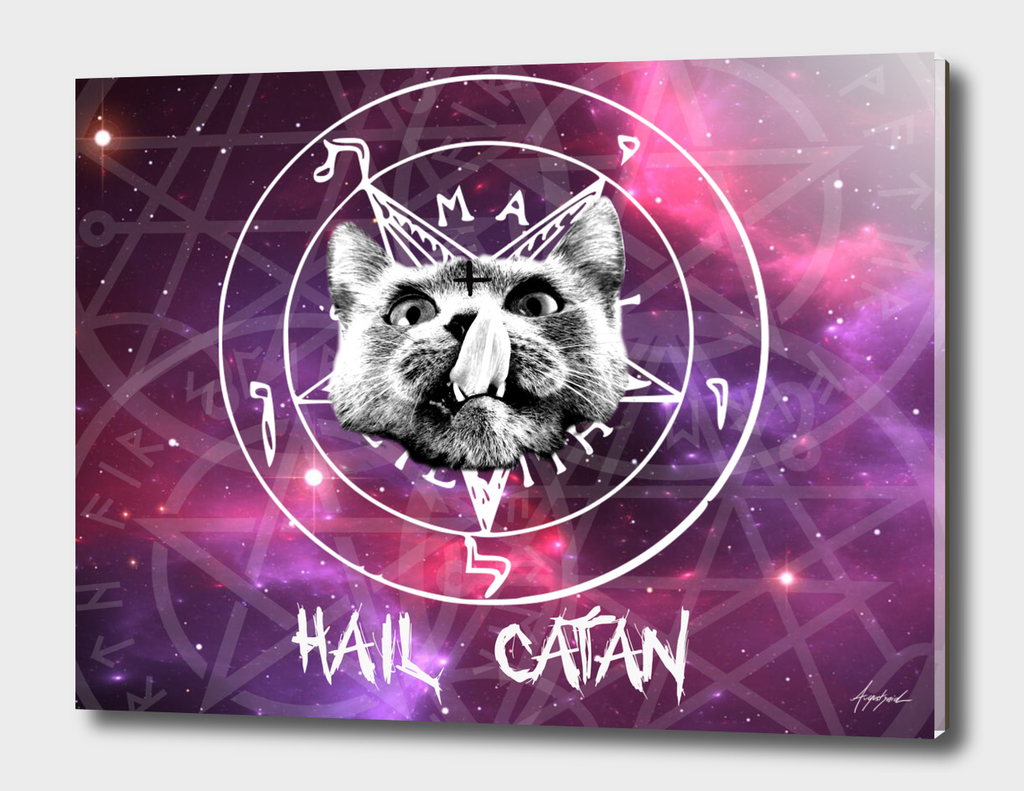 Hail Satan Cat Catan Kitty pentagram