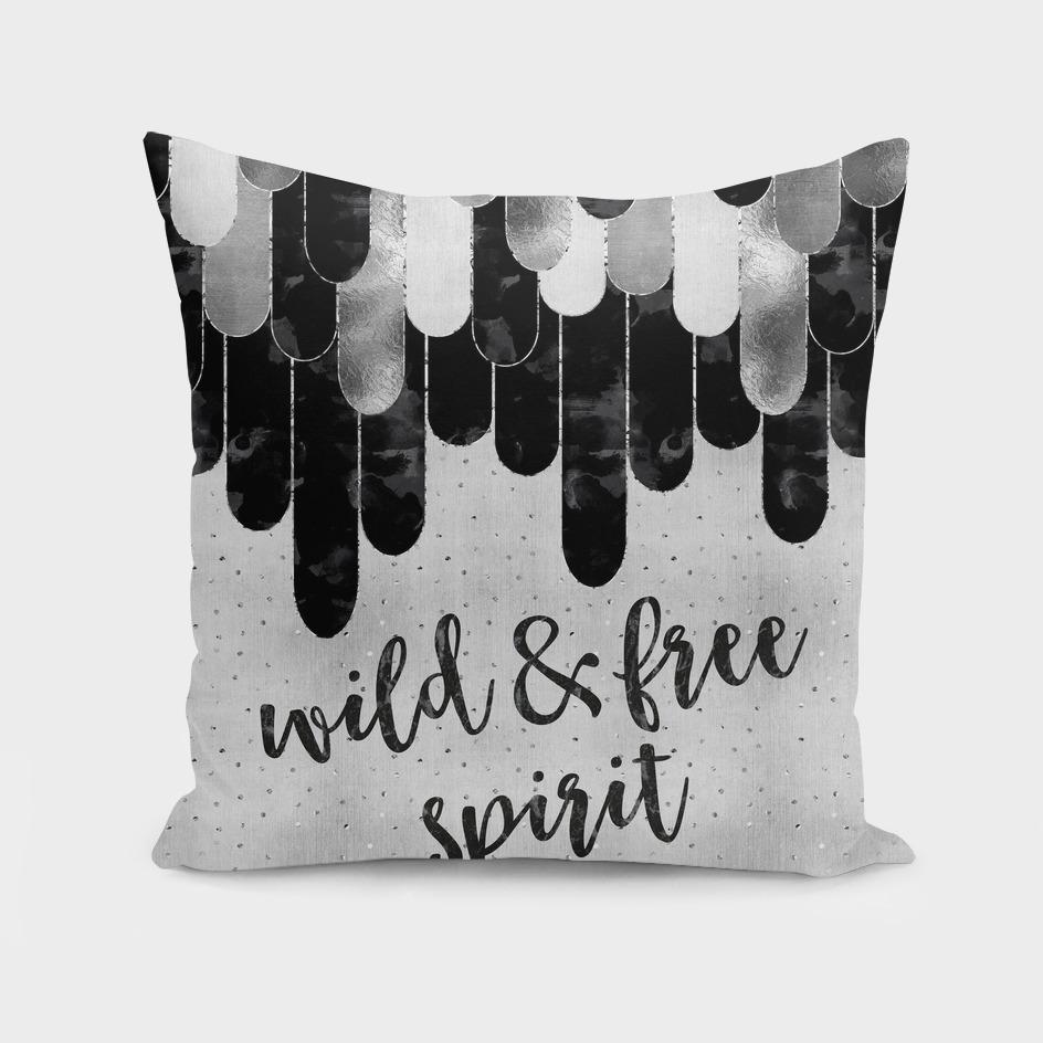 Graphic Art Feathers WILD & FREE SPIRIT | silver