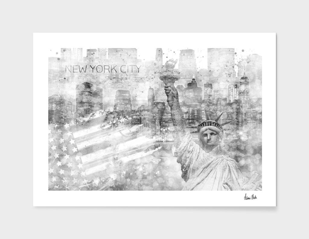 Graphic Art MANHATTAN Collage   silver