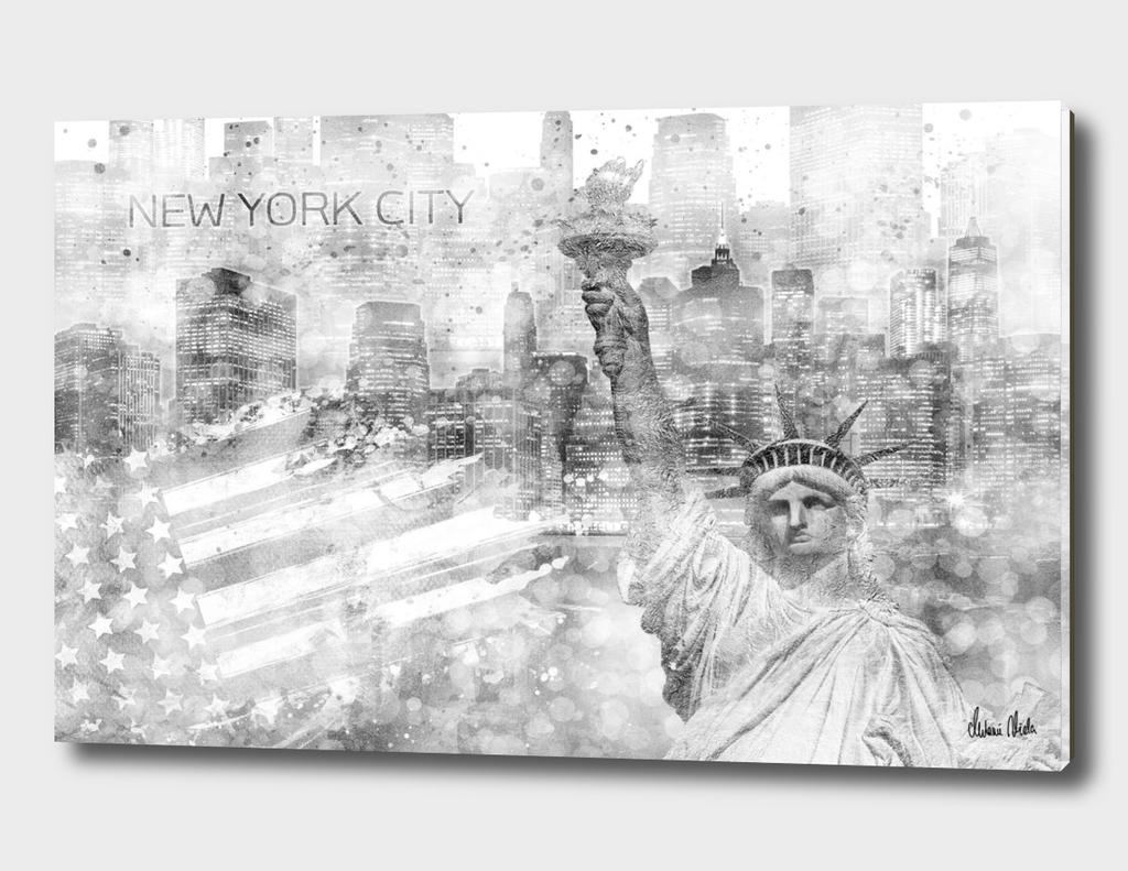 Graphic Art MANHATTAN Collage | silver