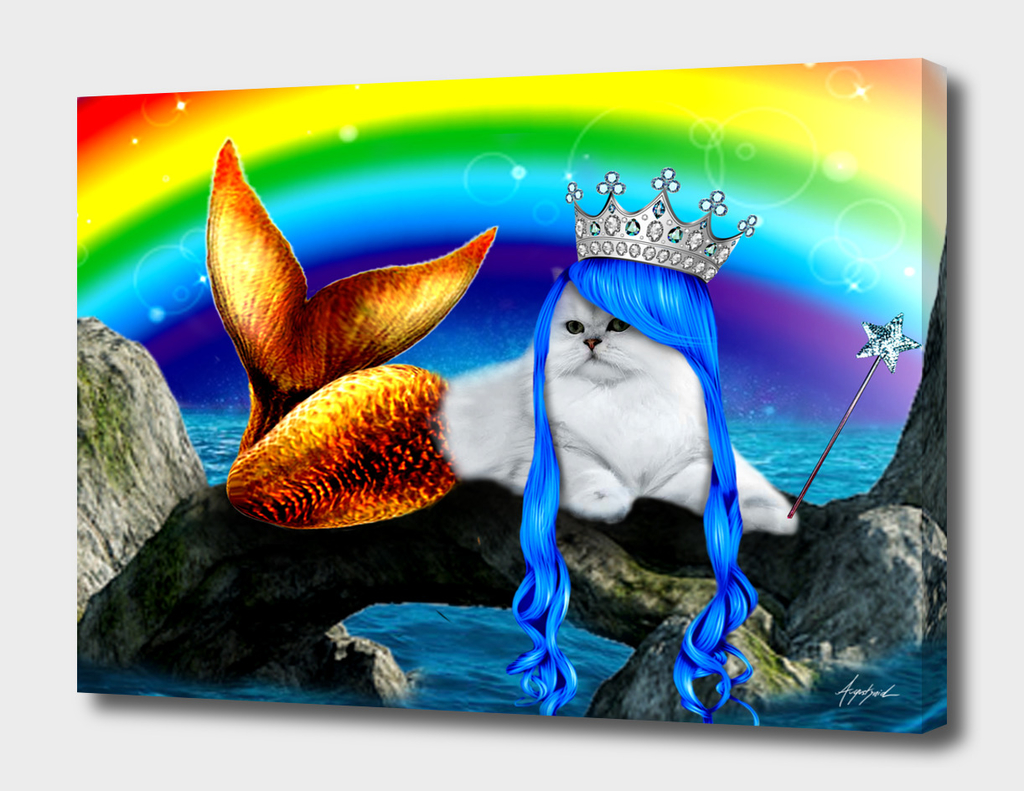 Mermaid Cat Kitty Ariel Ocean Crazy Cat