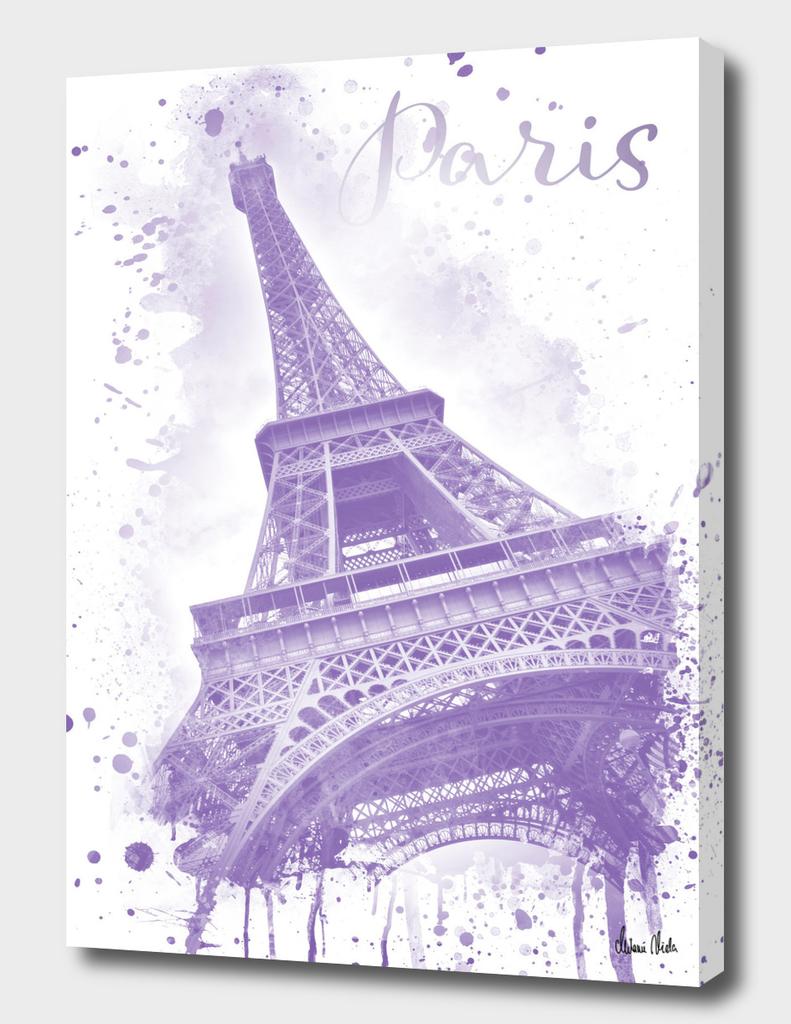 Watercolor Eiffel Tower | purple