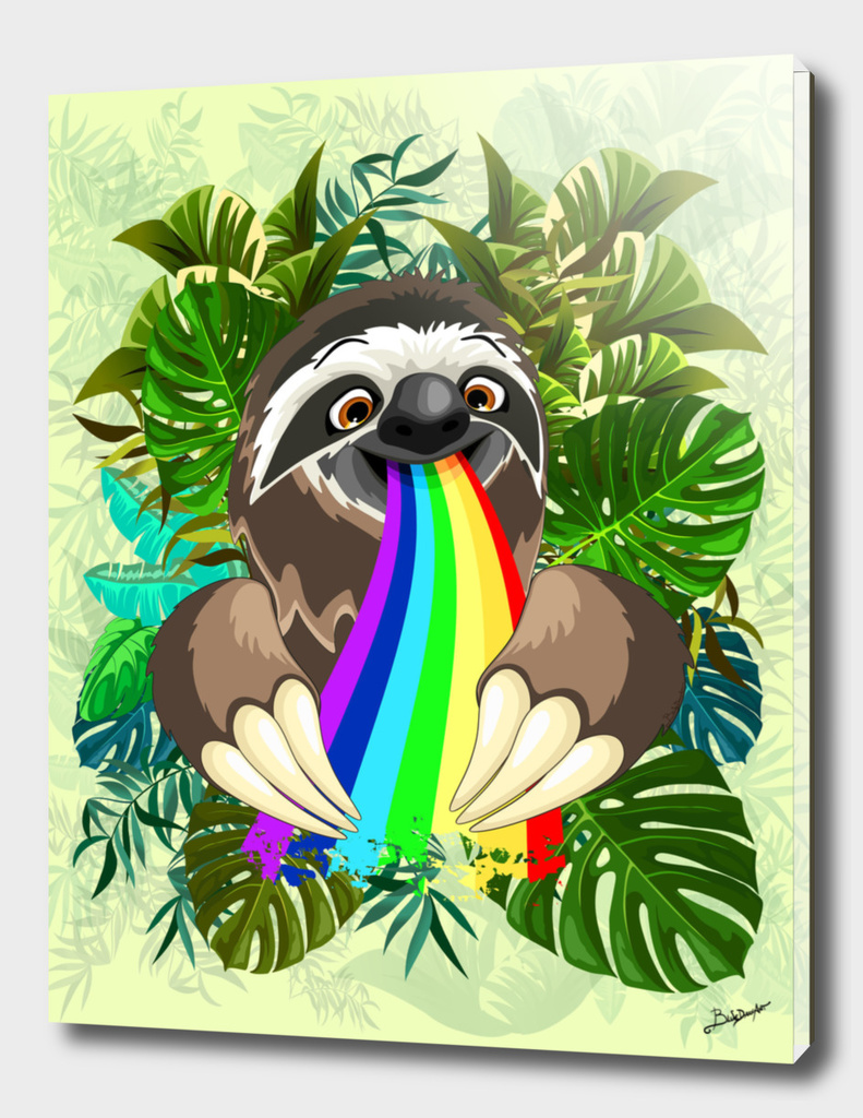 Sloth Spitting Rainbow Colors