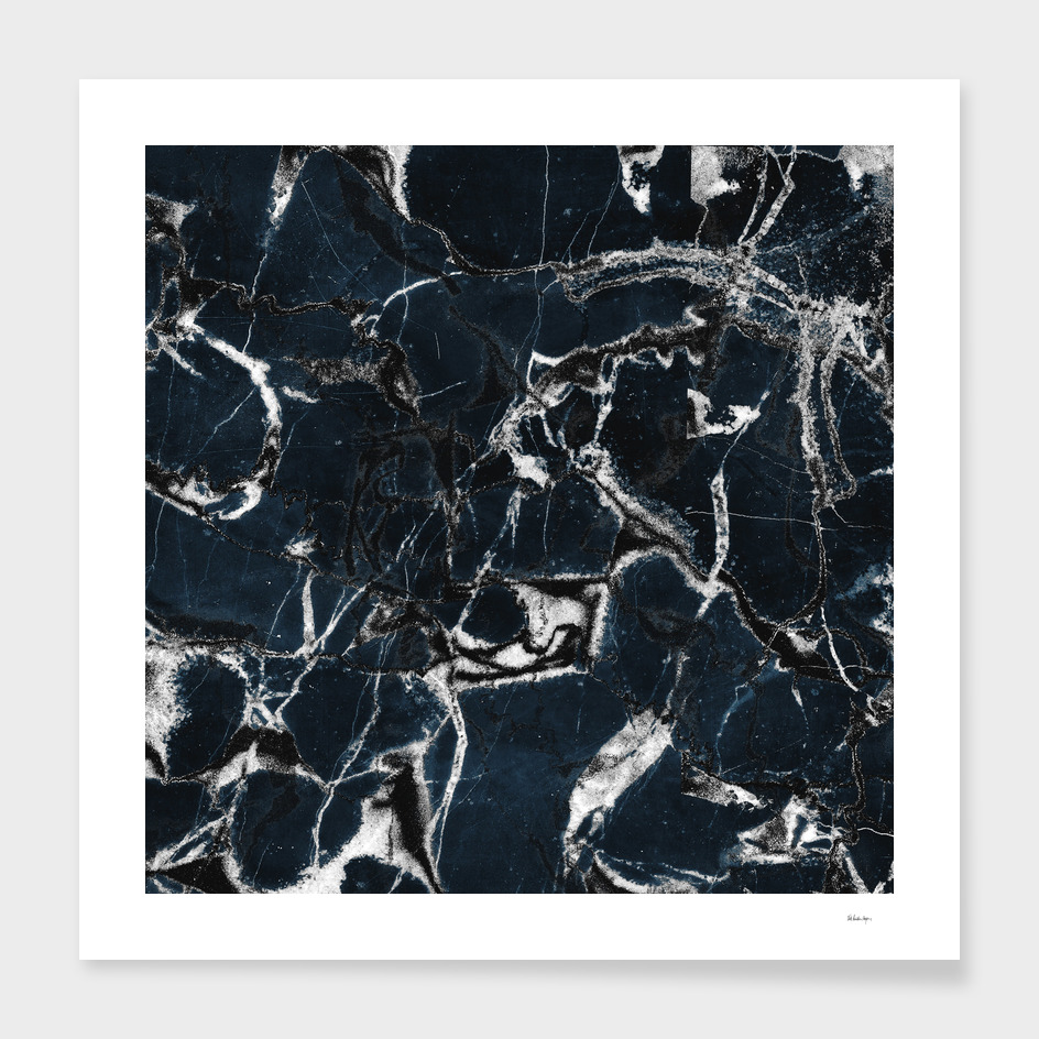 dark marble blue & black