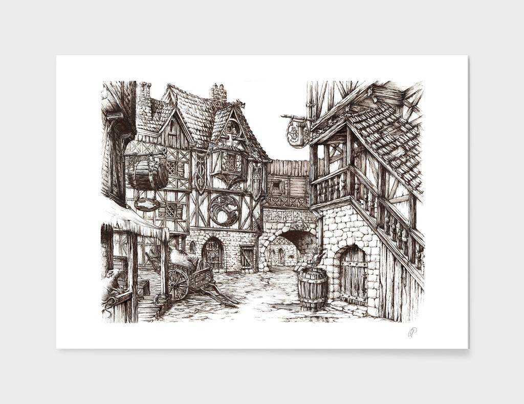 Medieval Town ink