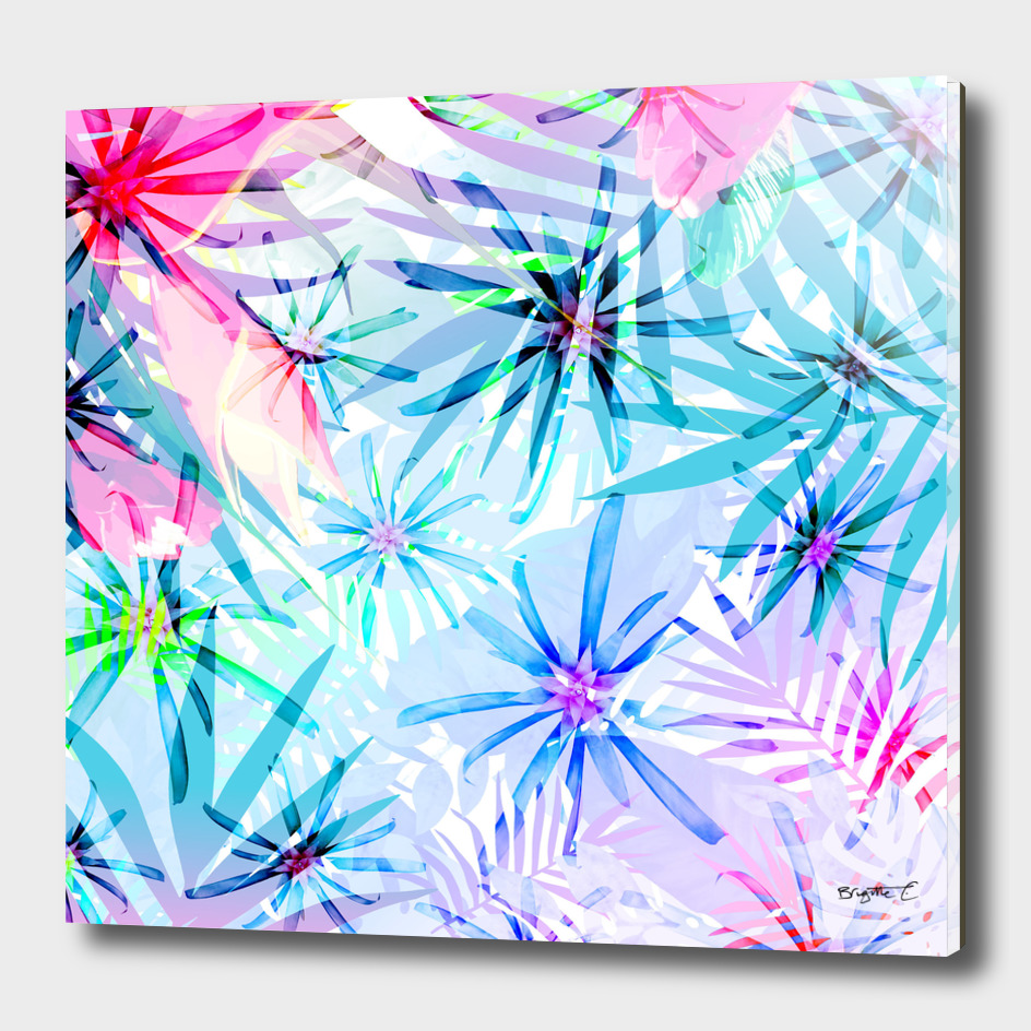 Flashy Colorful Tropical Flowers Design