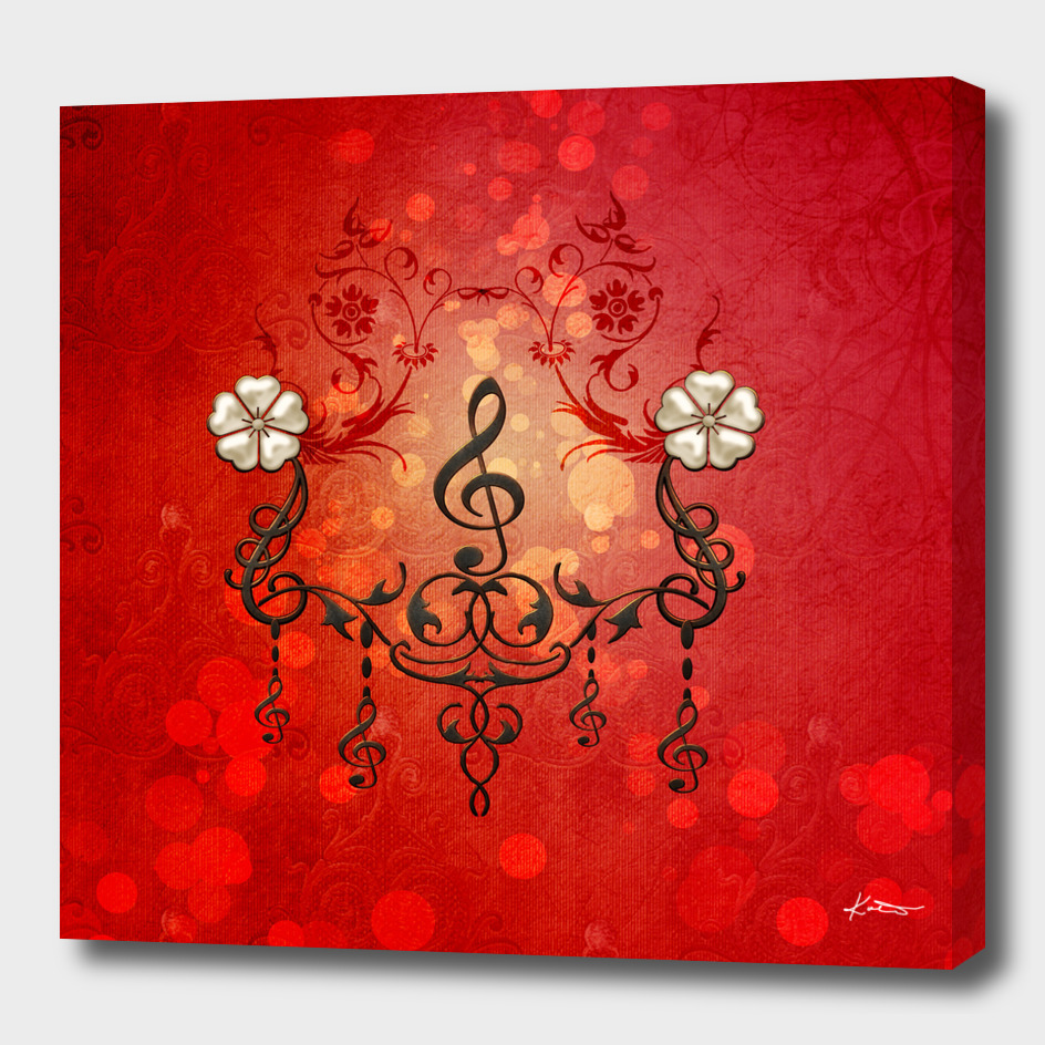 Music, clef with decorative floral elements
