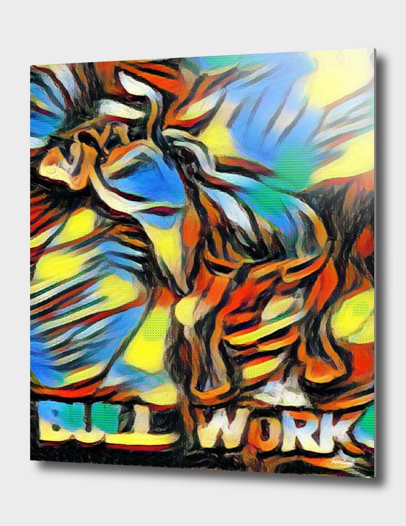 Bucking Bull Multi-Colored Abstract Original Artwok