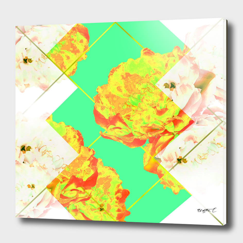 Abstract Geometric Pop Green Peonies Flowers Design