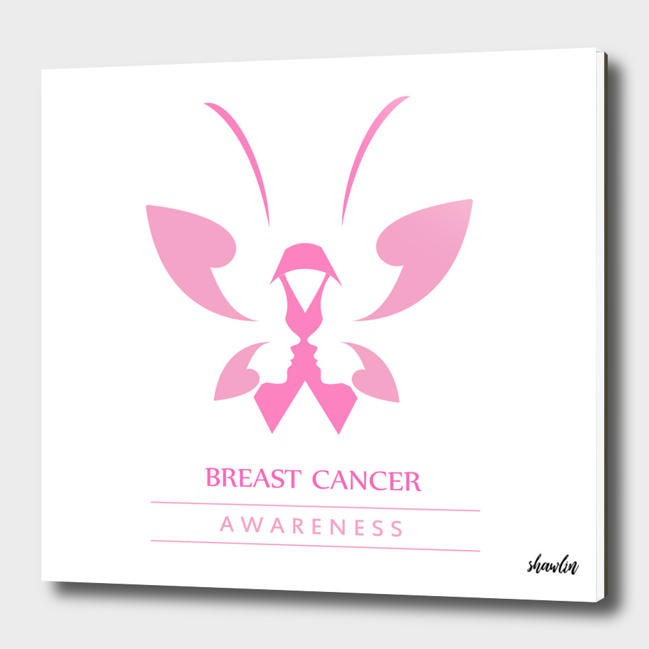 Pink ribbon with faces of women and butterfly
