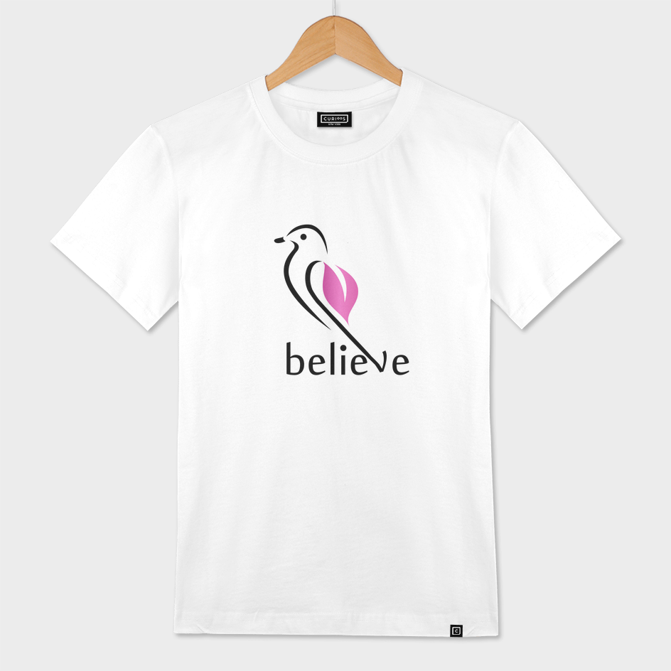 BELIEVE- Cute little bird showing belief in its wings