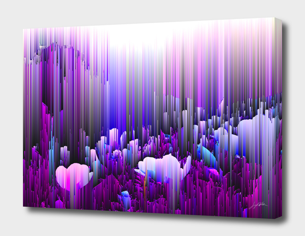 Rain of Lavender - Glitch Abstract Pixel Art