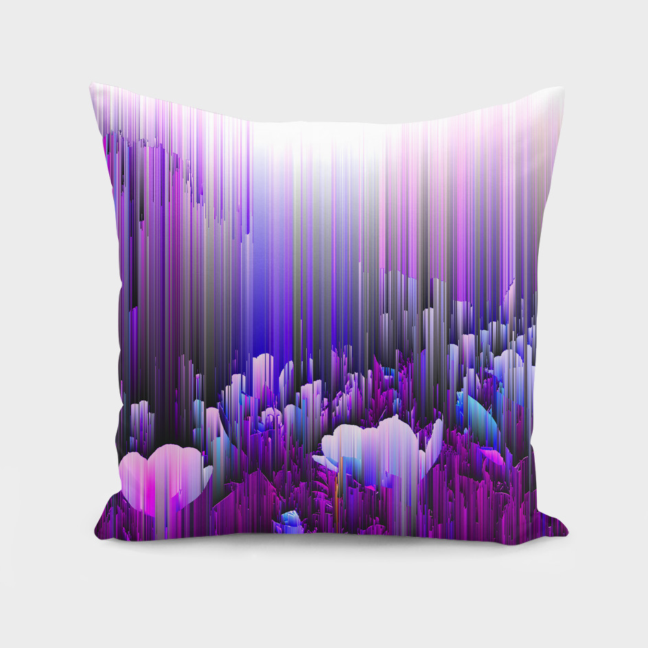 Rain of Lavender - Glitch Abstract Pixel Art