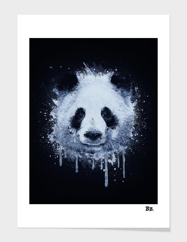 Abstract Graffiti Watercolor Panda Portrait in Black & White