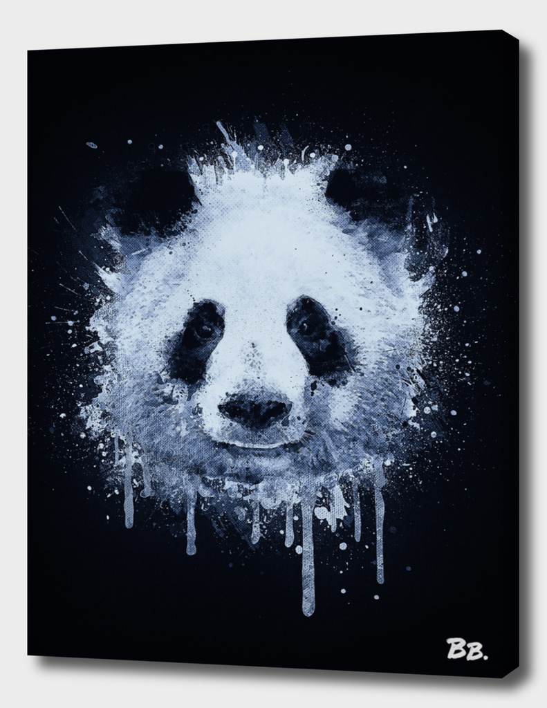 Abstract Graffiti Watercolor Panda Portrait in Black & White