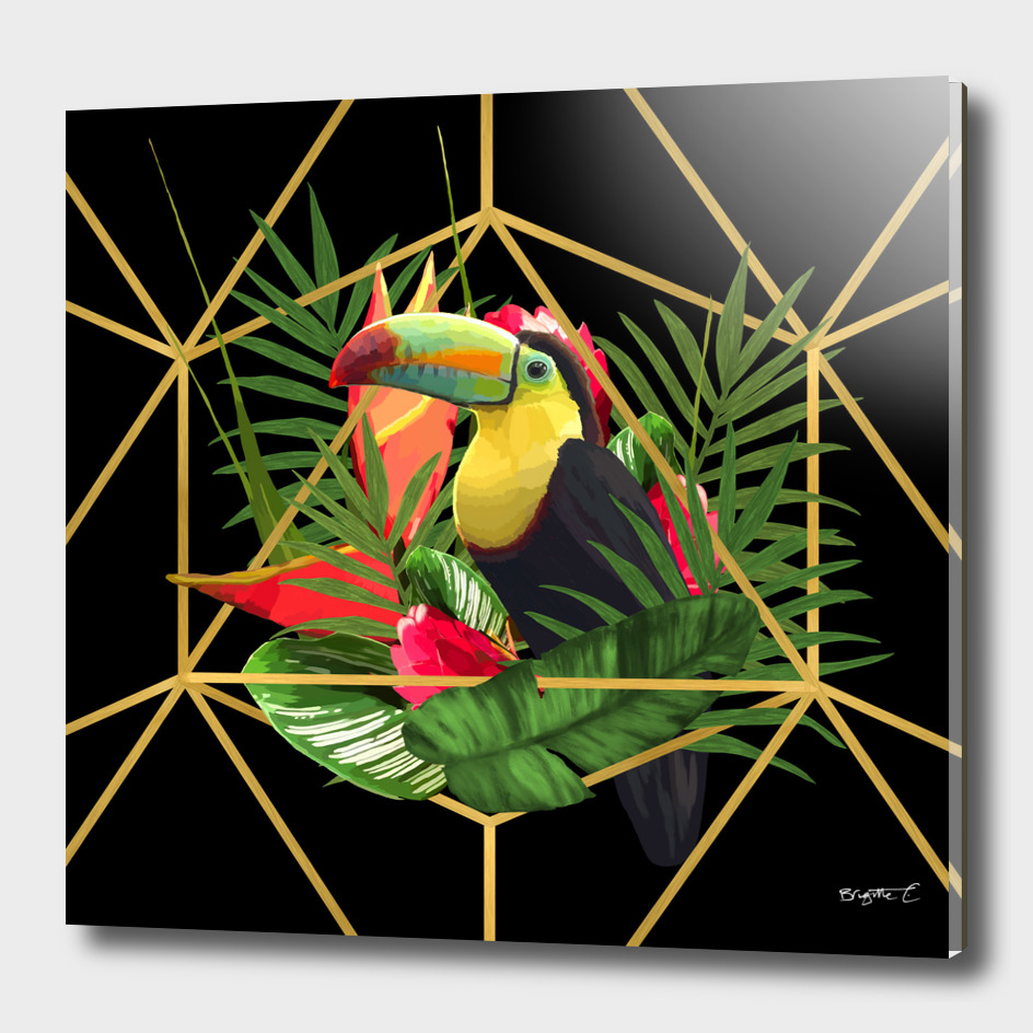 Bold Golden Geometric Tropical Bouquet With Toucan