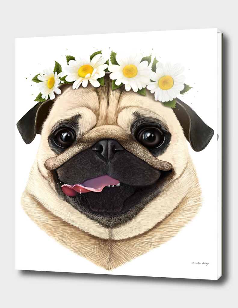 Pug with flowers