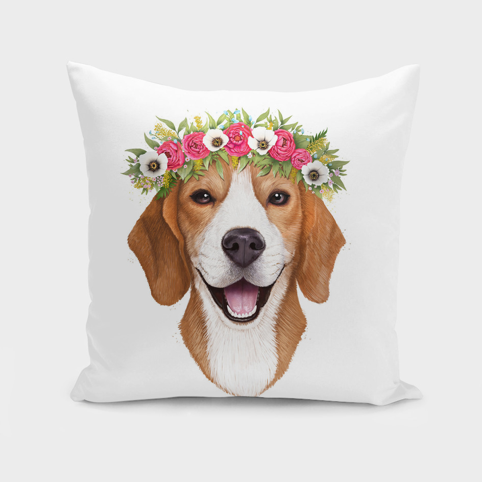 Beagle with flowers