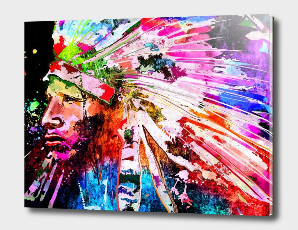Native American Profile Grunge