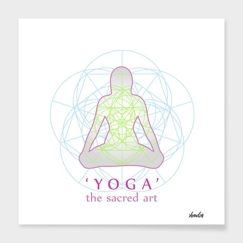 Yoga position with sacred geometry