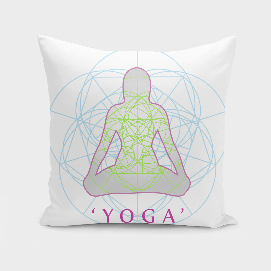 Yoga position with sacred geometry