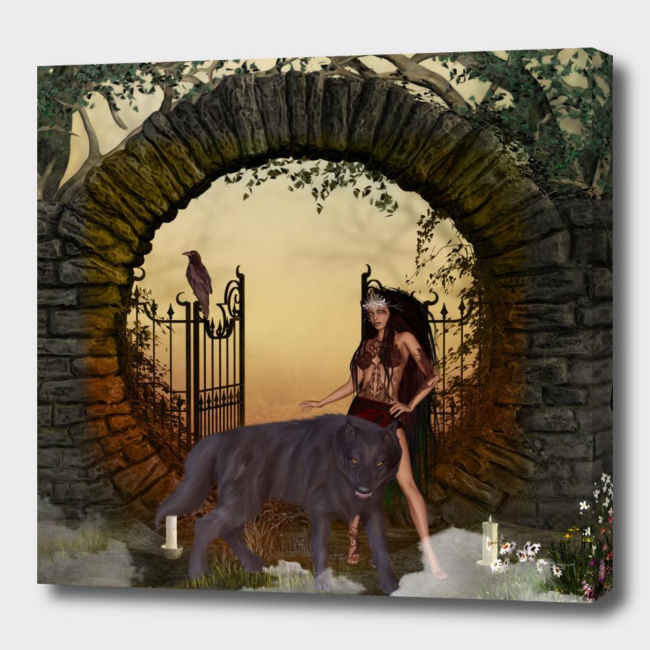 Dark fairy with wolf