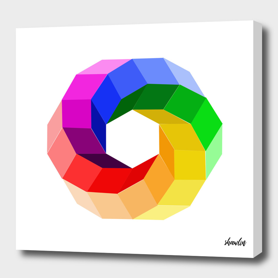 3d illusion color wheel forming a hexagon