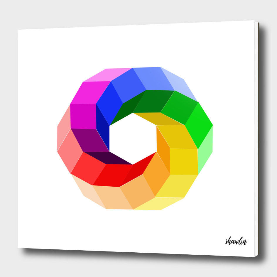3d illusion color wheel forming a hexagon