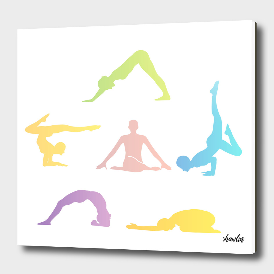 Colorful Yoga poses