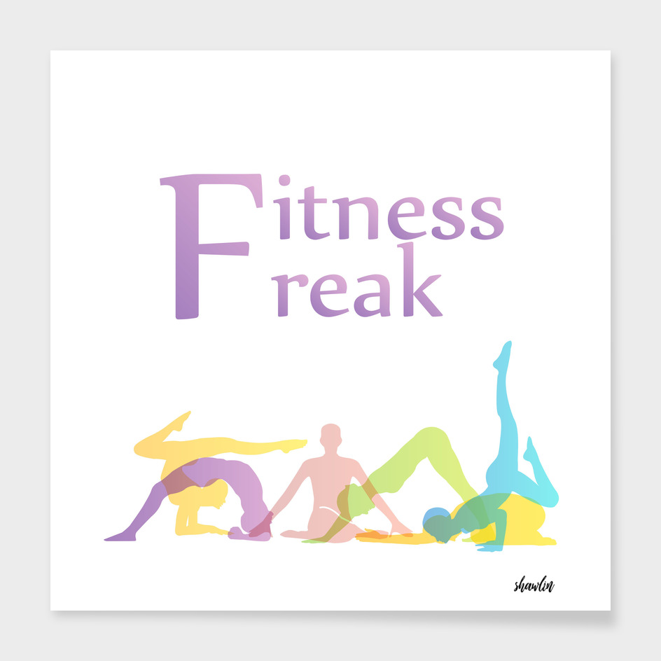 Fitness freak graphic with yoga poses silhouette