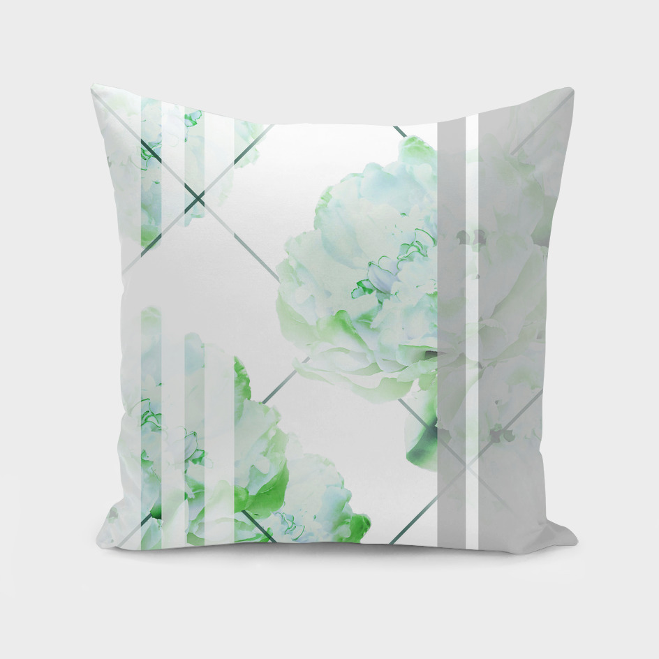 Abstract Geometric Lines Green Peonies Flowers Design