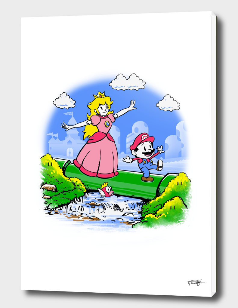 Mario and Peach - Color Sep with black