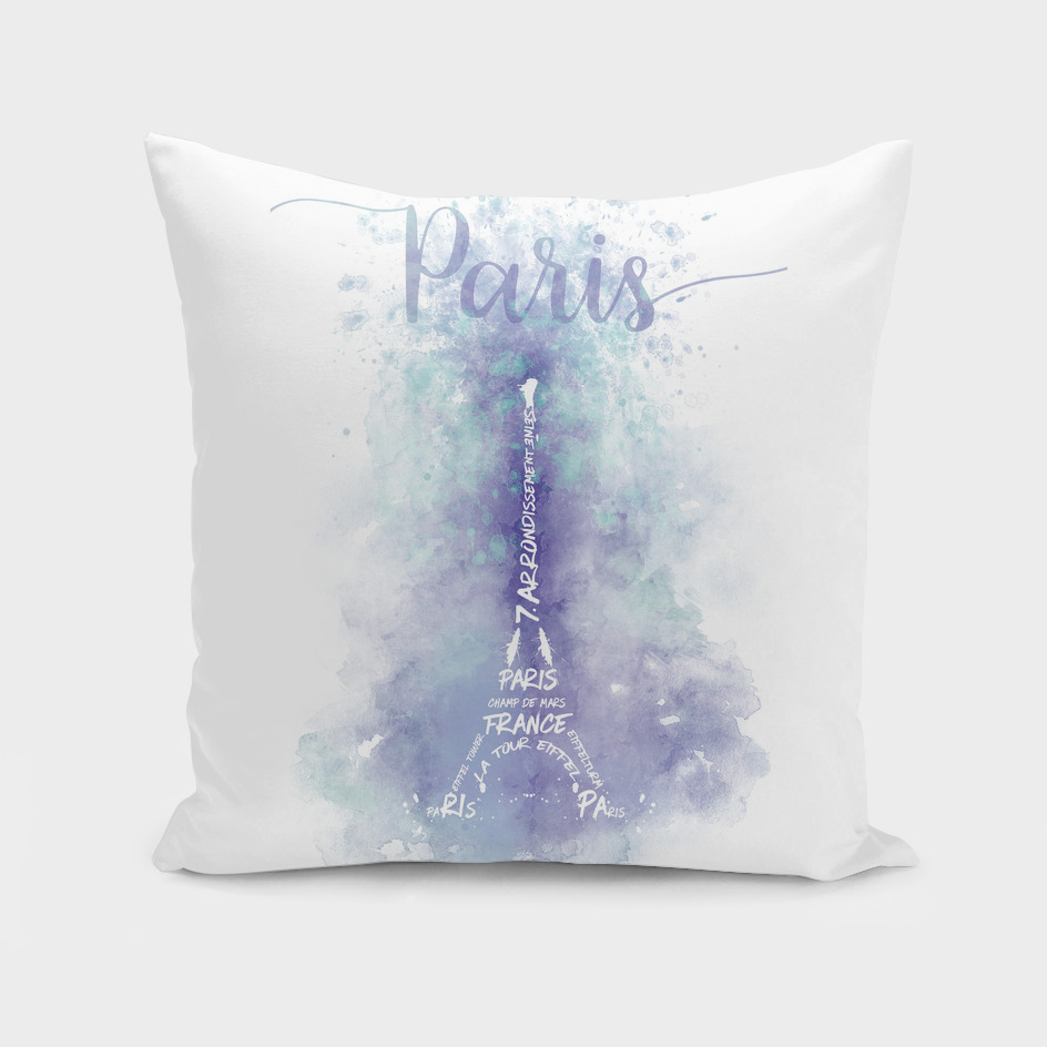 TEXT ART Watercolor Eiffel Tower   violet & turquoise