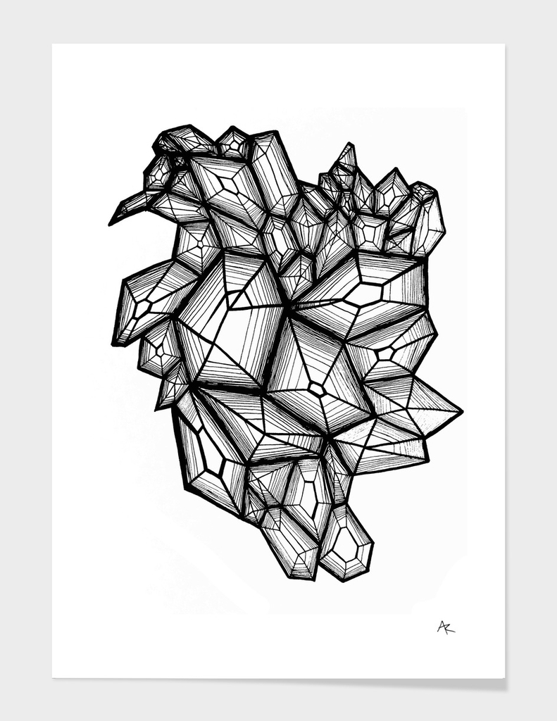 crystals in black and white