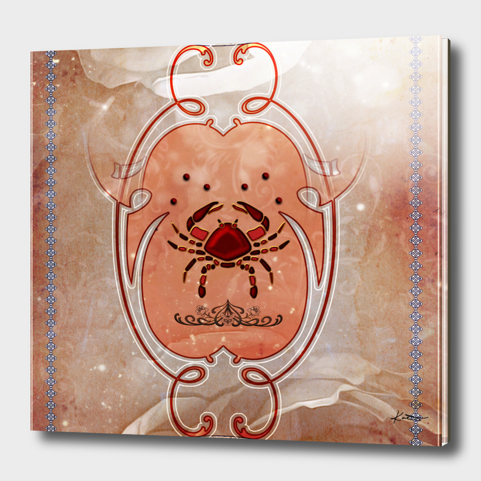 Decorative crab in red colors