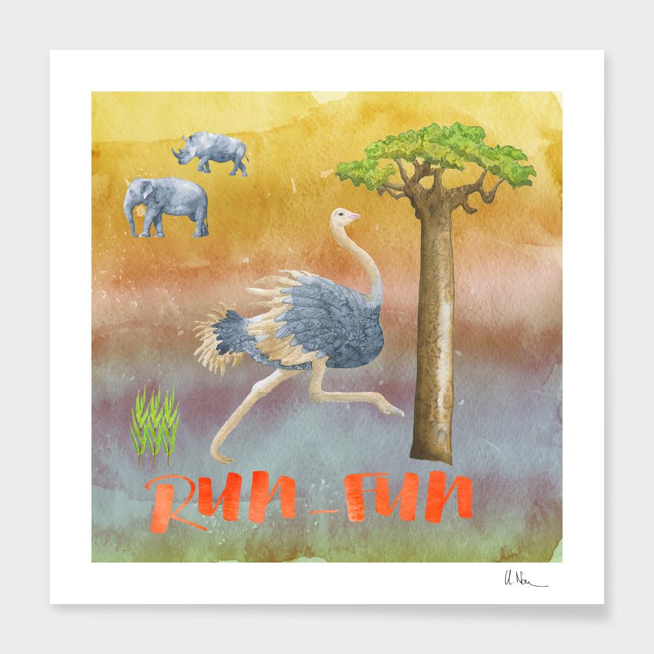 RUN FUN - Ostrich Illustration